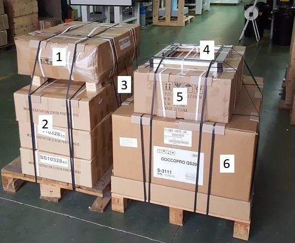 Conjunto de equipos y material para una actividad serigráfica completa lista para la entrega